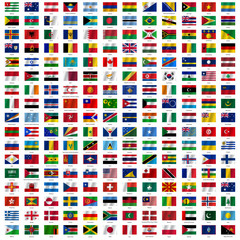 Flags of the world and  map on white background. Vector illustra