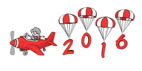 little sketchy man in red plane - year 2016 on parachutes