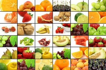 colorful assorted fruit collage
