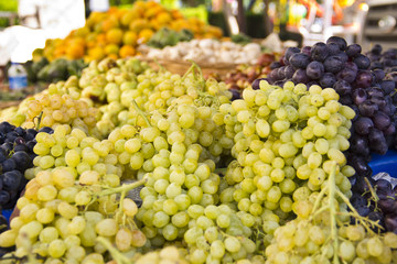 yellow grapes on market