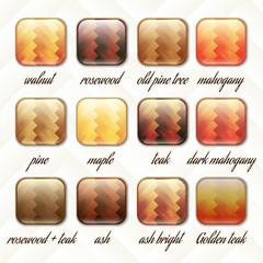 parquet, set of buttons