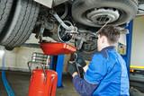 auto mechanic disassembling axle