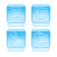 Glassy copy and paste icons. Vector illustration