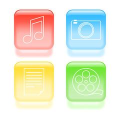Glassy multimedia icons. Vector illustration