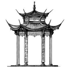 Asia, Korea, Japan, China. religious architecture on a white