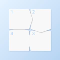 Cut-out progress banners. Design template. Vector illustration