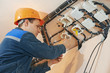electrician works with electric network