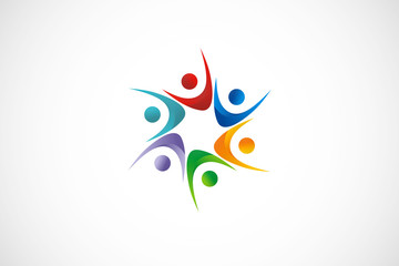 diversity people colorful vector logo