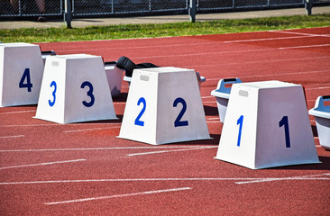 Starting blocks on the running track