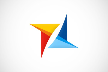 triangle geometry colorful vector logo