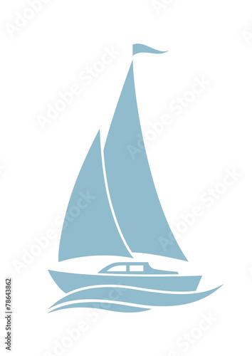 Fototapeta Sailboat vector icon on white background