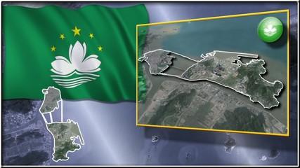 Macau flag and map animation