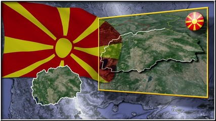 Republic of Macedonia flag and map animation