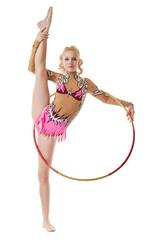 Free callisthenics. Nice gymnast posing with hoop