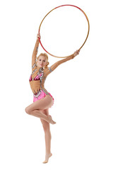 Performance of pretty artistic gymnast with hoop