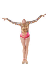 Rear view of graceful young gymnast posing