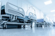 long corridor in hospital with surgical beds. - 78644812