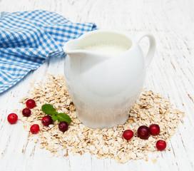 Milk, oat and cranberries