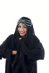 Beautiful tribal woman wrapped in scarf