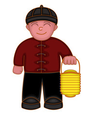 Chinese boy holding lantern