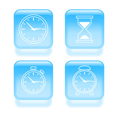Glassy time icons. Vector illustration