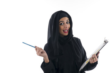 young attractive arabic business woman showing clipboard