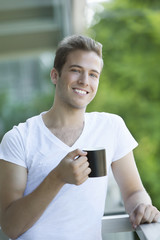 Happy Man Drinking Coffee