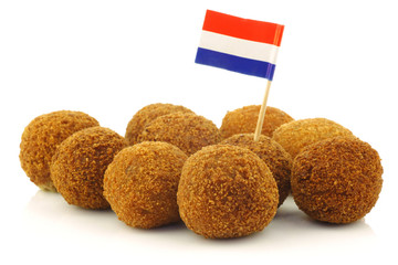 "traditional Dutch snack called ""bitterballen"" with a Dutch flag"