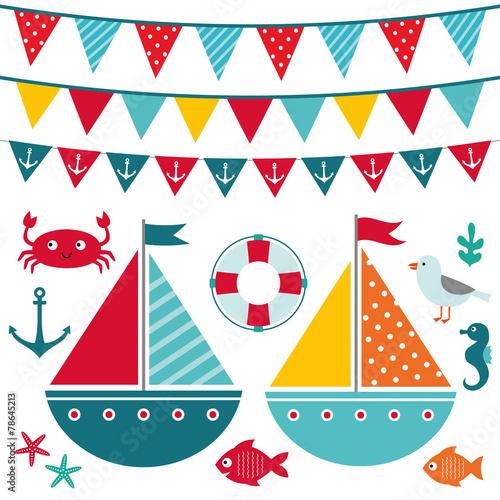 Sea elements and decoration set