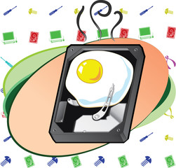 Hard disk with scrambled egg