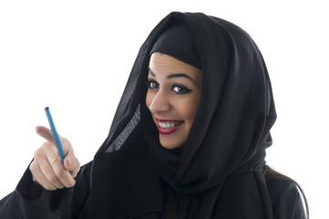 Arabian business woman holding a clipboard
