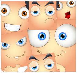 Smiley Faces Expressions Background Vector