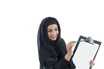 Arabic business woman showing clipboard isolated
