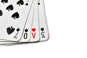 Playing cards with written love