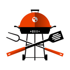 grill, barbecue, barbeque. utensils for BBQ on white background