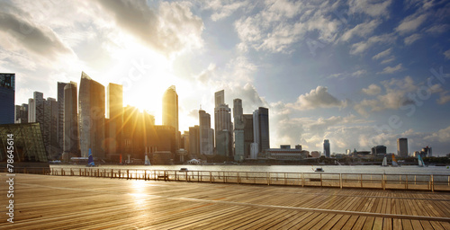 Foto op Aluminium Singapore CBD of Singapore at sunset