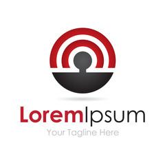 Circular radio wave pattern elegant simple business icon logo