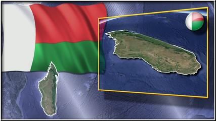 Madagascar flag and map animation