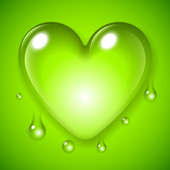 Green Waterdrop Heart