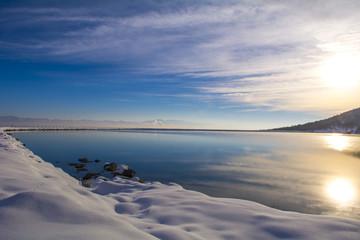 gölette gündoğumu