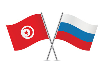 Russian and Tunisian flags. Vector illustration.