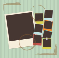 retro photo frames composition