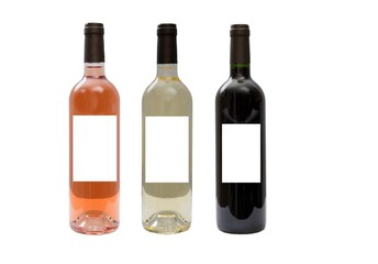 White, rose, and red wine bottles set