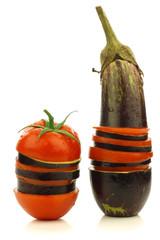 sliced and mixed  tomato and Suriname aubergine (eggplant)