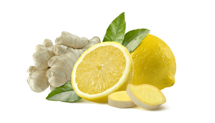 Lemon and ginger  whole slices isolated on white background