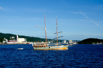 Old ship sailing in the Oslo fjord