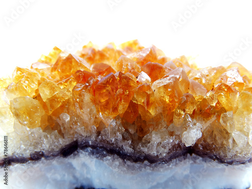 Foto op Canvas Edelsteen citrine geode geological crystals