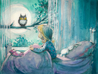 Girl in her bed looking at owl on a tree.Watercolors
