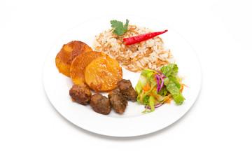 Bulletten, Kartoffeln und Reis