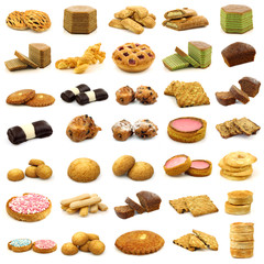 collection of freshly baked cookies,cakes,buns and other pastry